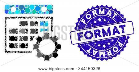 Mosaic Calendar Configuration Icon And Grunge Stamp Seal With Format Phrase. Mosaic Vector Is Create