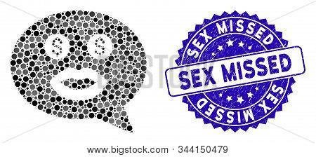 Mosaic Prostitute Smiley Message Icon And Grunge Stamp Watermark With Sex Missed Phrase. Mosaic Vect