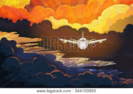 Airplane Flying Above Beautiful Clouds In Sunset Or Sunrise Light. Travel Concept. Colorful Vector I