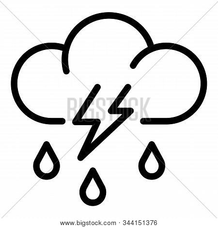 Storm Rainy Cloud Icon. Outline Storm Rainy Cloud Vector Icon For Web Design Isolated On White Backg