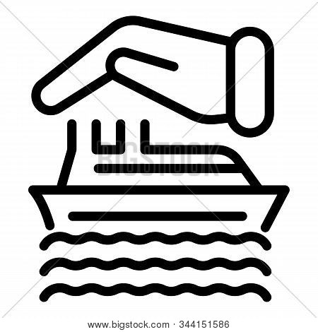 Travel Ship Insurance Icon. Outline Travel Ship Insurance Vector Icon For Web Design Isolated On Whi