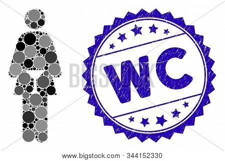 Collage Wc Woman Icon And Rubber Stamp Seal With Wc Caption. Mosaic Vector Is Designed With Wc Woman