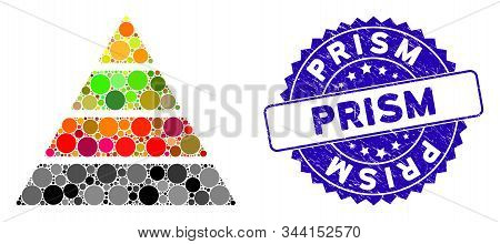 Collage Pyramid Icon And Rubber Stamp Seal With Prism Caption. Mosaic Vector Is Formed With Pyramid
