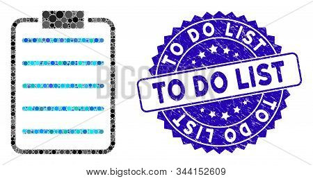 Collage List Page Icon And Grunge Stamp Watermark With To Do List Phrase. Mosaic Vector Is Composed