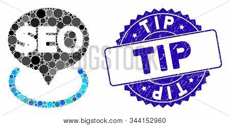 Mosaic Geotargeting Seo Icon And Corroded Stamp Seal With Tip Text. Mosaic Vector Is Created With Ge