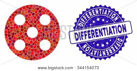 Mosaic Round Dice Icon And Rubber Stamp Seal With Differentiation Caption. Mosaic Vector Is Formed W