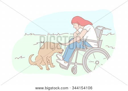 Kindness, Homeless Animals Care, Sympathy Concept. Compassion And Tenderness, Pariah-dog Affection,