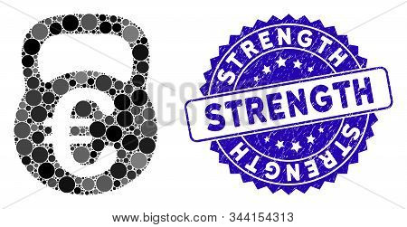 Mosaic Euro Weight Icon And Grunge Stamp Watermark With Strength Phrase. Mosaic Vector Is Created Wi
