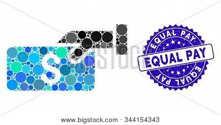 Mosaic Pay Icon And Rubber Stamp Seal With Equal Pay Phrase. Mosaic Vector Is Created With Pay Icon