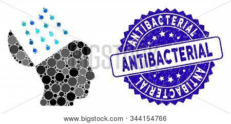 Mosaic Brain Shower Icon And Distressed Stamp Seal With Antibacterial Phrase. Mosaic Vector Is Forme