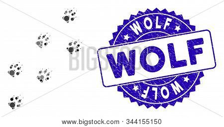 Mosaic Wolf Track Icon And Rubber Stamp Watermark With Wolf Phrase. Mosaic Vector Is Designed With W