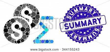 Mosaic Coin Summary Icon And Rubber Stamp Seal With Summary Caption. Mosaic Vector Is Designed With