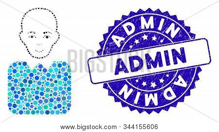 Mosaic Bald Bureaucrat Icon And Distressed Stamp Watermark With Admin Caption. Mosaic Vector Is Comp