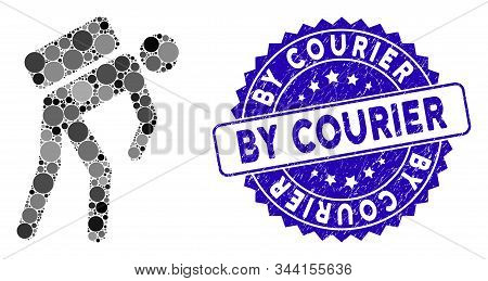 Mosaic Courier Icon And Distressed Stamp Seal With By Courier Text. Mosaic Vector Is Created With Co