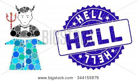 Mosaic Road To Hell Monster Icon And Grunge Stamp Seal With Hell Phrase. Mosaic Vector Is Designed W