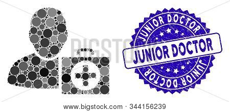Mosaic Doctor Icon And Corroded Stamp Watermark With Junior Doctor Text. Mosaic Vector Is Created Wi