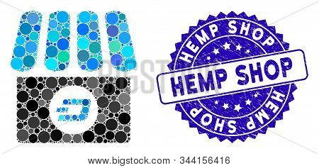 Collage Dash Shop Icon And Rubber Stamp Seal With Hemp Shop Text. Mosaic Vector Is Created With Dash