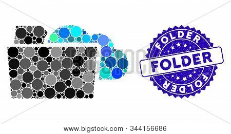 Mosaic Folder Icon And Grunge Stamp Seal With Folder Caption. Mosaic Vector Is Formed From Folder Ic