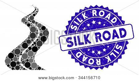Mosaic Far Way Road Icon And Distressed Stamp Seal With Silk Road Caption. Mosaic Vector Is Designed