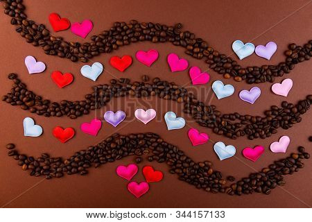 Vaughn Of Coffee Beans And Hearts On A Dark Background.