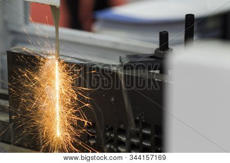 Steel  Plate Was Cut By Edm Wire Cut Process ; The Precision Process For Tooling Making Process ; In