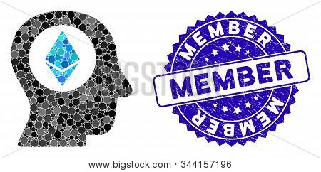 Mosaic Ethereum Mind Icon And Corroded Stamp Seal With Member Caption. Mosaic Vector Is Composed Wit