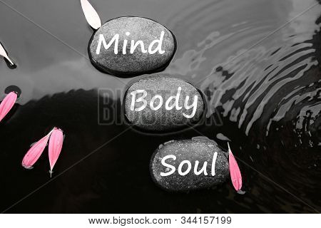 Spa Stones With Words Mind, Body, Soul And Pink Flower Petals In Water, Flat Lay. Zen Lifestyle