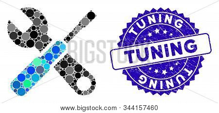 Mosaic Tuning Tools Icon And Grunge Stamp Seal With Tuning Phrase. Mosaic Vector Is Formed From Tuni