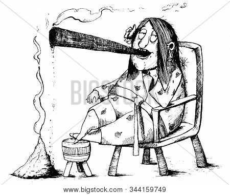 Old Lady Smokes A Cigar And Beside Her A Large Pile Of Ash. Funny Cartoon Character. Vector Illustra