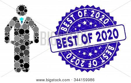 Mosaic Bankrupt Icon And Grunge Stamp Watermark With Best Of 2020 Text. Mosaic Vector Is Designed Wi