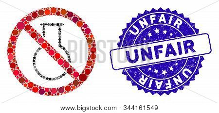 Mosaic No Chemical Glass Icon And Grunge Stamp Seal With Unfair Phrase. Mosaic Vector Is Created Wit