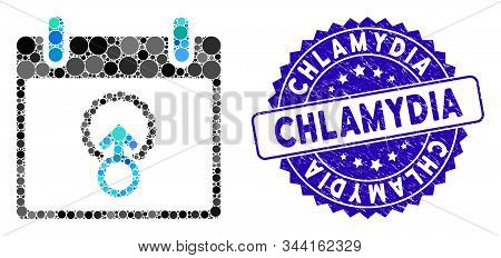 Mosaic Cell Penetration Calendar Day Icon And Distressed Stamp Watermark With Chlamydia Phrase. Mosa