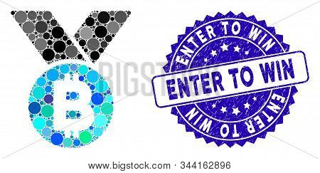 Mosaic Bitcoin Medal Icon And Rubber Stamp Seal With Enter To Win Text. Mosaic Vector Is Composed Wi