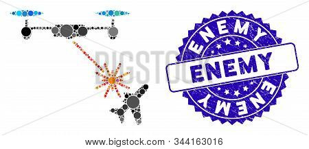 Mosaic Laser Drone Attacks Airplane Icon And Grunge Stamp Seal With Enemy Text. Mosaic Vector Is Com