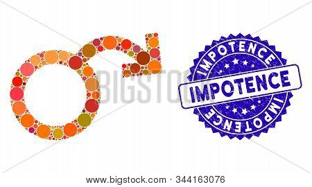 Mosaic Impotence Icon And Grunge Stamp Seal With Impotence Caption. Mosaic Vector Is Composed With I