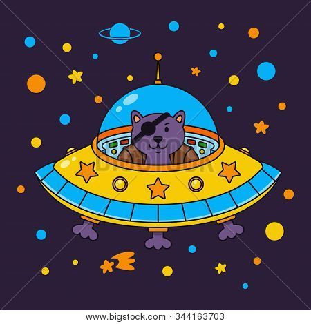 Alien Cat Pirate In A Spaceship In A Star Galaxy. Cute Cosmonaut Cat In Outer Space. Vector Illustra