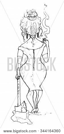 Girl With An Ax Smokes. Dangerous Girl With Axe Want To Revenge. She Stands With Her Back And Smokes
