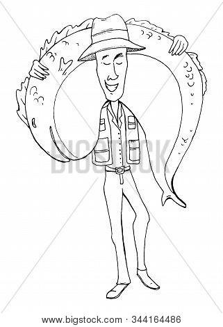 Fisherman With Huge Fish. Funny Cartoon Character. Vector Illustration