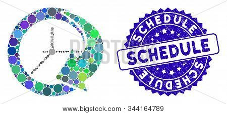 Collage Time Schedule Icon And Distressed Stamp Seal With Schedule Phrase. Mosaic Vector Is Designed