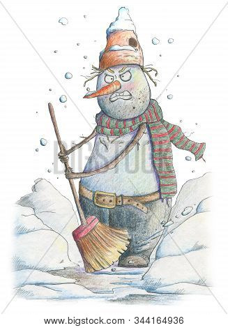 Angry Snowman Clean The Snow. Funny Cartoon Character. Hand Drawn  Illustration
