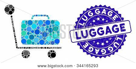 Mosaic Luggage Trolley Icon And Rubber Stamp Seal With Luggage Caption. Mosaic Vector Is Formed From