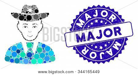 Mosaic Sheriff Icon And Rubber Stamp Watermark With Major Text. Mosaic Vector Is Formed With Sheriff