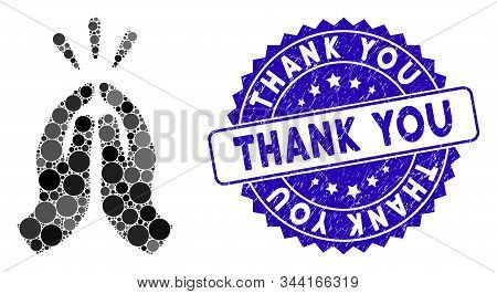 Mosaic Thank You Icon And Distressed Stamp Seal With Thank You Text. Mosaic Vector Is Formed With Th