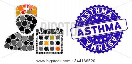 Mosaic Doctor Calendar Icon And Distressed Stamp Seal With Asthma Text. Mosaic Vector Is Formed With
