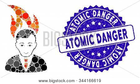 Mosaic Fired Manager Icon And Distressed Stamp Seal With Atomic Danger Phrase. Mosaic Vector Is Crea