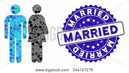 Mosaic Married Couple Icon And Corroded Stamp Watermark With Married Caption. Mosaic Vector Is Compo