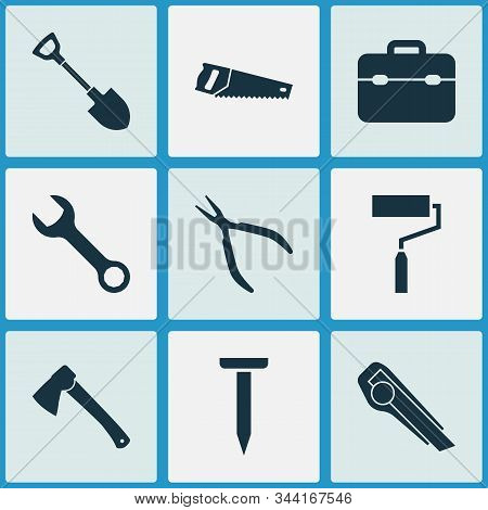 Tools Icons Set With Clamp, Utility Knife, Nail And Other Paint Elements. Isolated Vector Illustrati