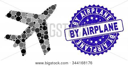 Mosaic Airplane Icon And Distressed Stamp Seal With By Airplane Phrase. Mosaic Vector Is Designed Wi