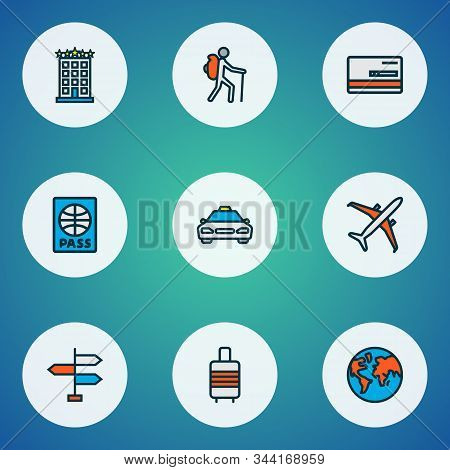 Journey Icons Colored Line Set With Airplane, Baggage Suitcase, Taxi And Other Citizenship Elements.