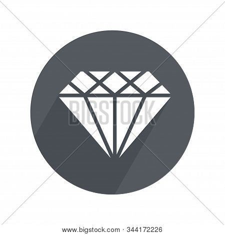 Mineral Circle Icon Flat With Long Shadow. Geology, Jewel Crafting, Gemology. Vector Illustration. W